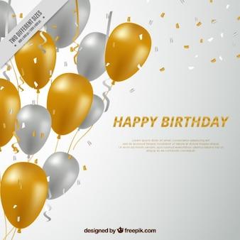 Sfondo di buon compleanno con palloncini dorati e argentati