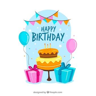 Sfondo di buon compleanno con torta e regali