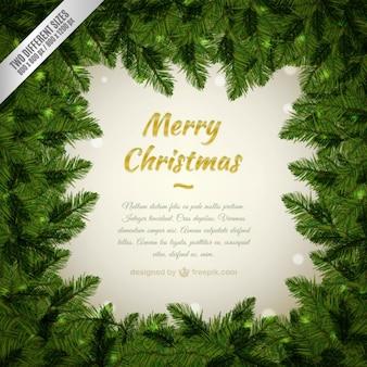 Sfondo di Buon Natale con una cornice di pini