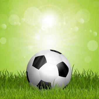 sfondo di calcio con pallone da calcio in erba