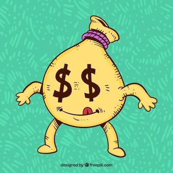 Sfondo di carattere del sacchetto di soldi con gli occhi del dollaro