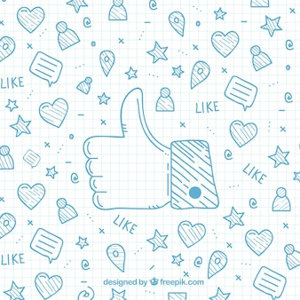Sfondo di cartone animato con le icone di Facebook