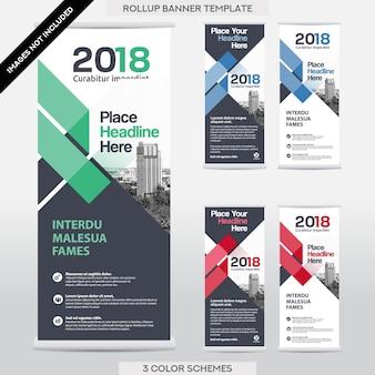 Sfondo di città Business Roll Up. Bandiera Bandiera Design Template Set.