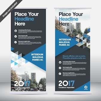 Sfondo di città Business Roll Up Design Template.Flag Banner