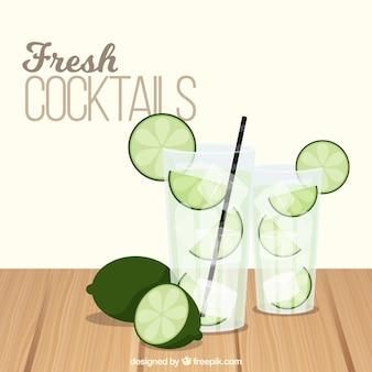 Sfondo di cocktail con calce
