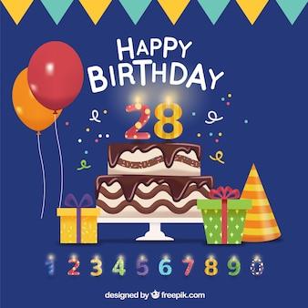 Sfondo di compleanno con torta e altri elementi