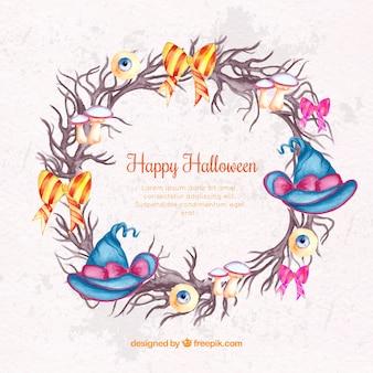 Sfondo di corona con gli elementi di halloween di acquerello