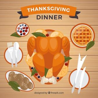 Sfondo di deliziosi piatti di ringraziamento