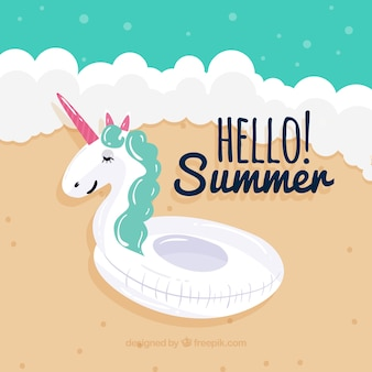 Sfondo di estate con unicorno galleggiante
