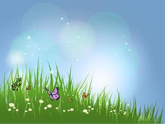 Sfondo di farfalle che volano in erba su margherite