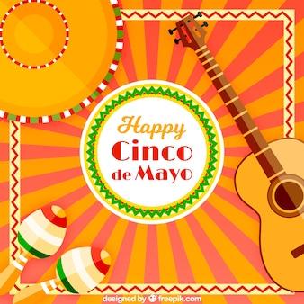 Sfondo di festa con la tradizionale Cinco De Mayo elementi