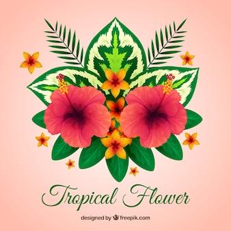Sfondo di fiori piuttosto tropicali con foglie
