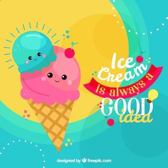 Sfondo di gelato carino con frase