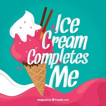 Sfondo di gelato con una bella frase