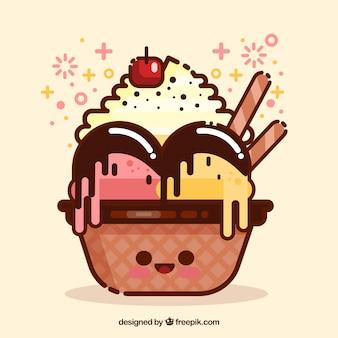 Sfondo di gelato piacevole in disegno piatto