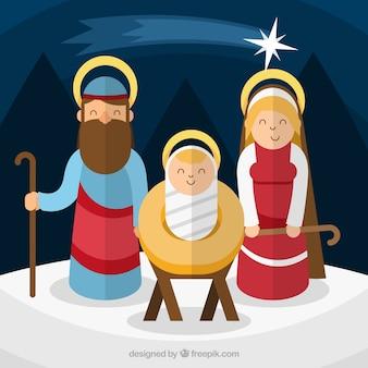 Sfondo di gioiosa nascita di Gesù in design piatto