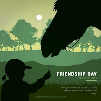 Sfondo di giorno di amicizia con ragazza e cavallo silhouette