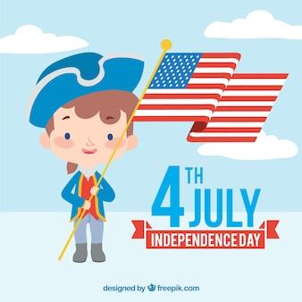 Sfondo di giorno di indipendenza con il carattere che tiene una bandiera