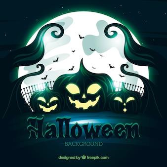 Sfondo di Halloween scary con zucche