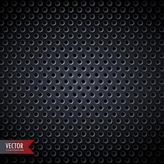 Sfondo di metallo di carbonio con fori