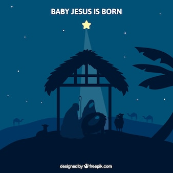 Sfondo di notte con la stella che illumina il presepe