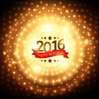 Sfondo di nuovo anno 2016 con le luci dorate