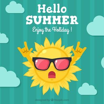 Sfondo di nuvole e sole rocker con gli occhiali da sole