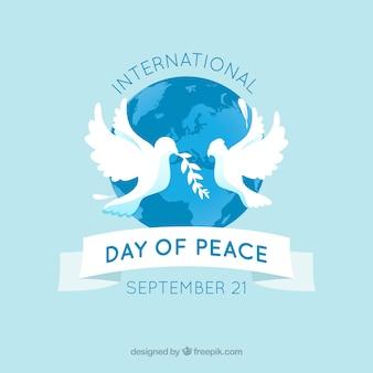 Sfondo di pace nel mondo con colombe