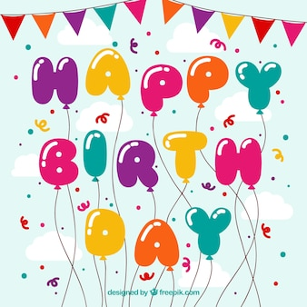 Sfondo di palloncini felici di compleanno e coriandoli colorati