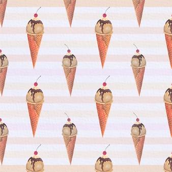Sfondo di pattern di coni di gelato