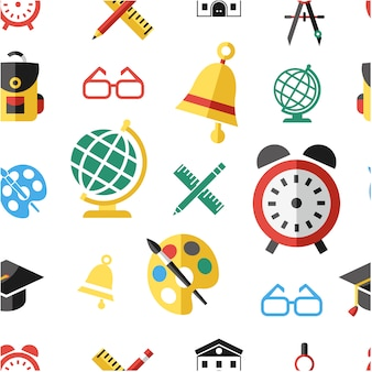 Sfondo di pattern di elementi di scuola