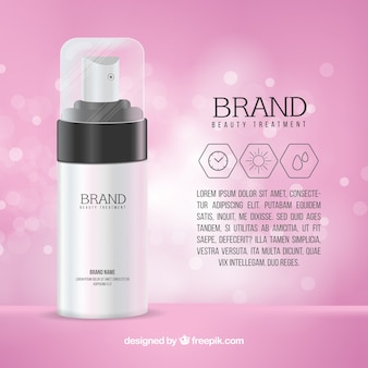 Sfondo di prodotti cosmetici bokeh rosa