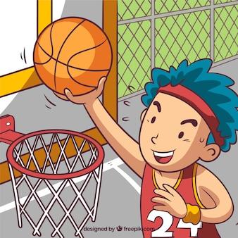 Sfondo di ragazzo di colpire una palla