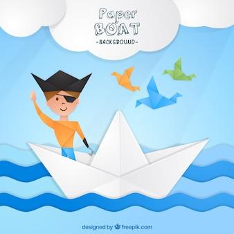 Sfondo di ragazzo pirata su una barca di carta