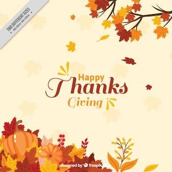 Sfondo di ringraziamento con la decorazione foglie