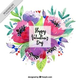 Sfondo di San Valentino acquerello fiori