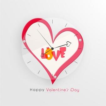 Sfondo di San Valentino con l'orologio a forma di cuore