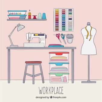Sfondo di spazio di lavoro del progettista di moda