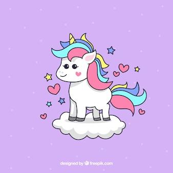 Sfondo di unicorn bella mano disegnata su una nuvola