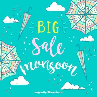 Sfondo di vendita di monsone con ombrello disegnato a mano