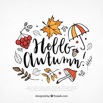 Sfondo disegnato a mano con elementi di autunno