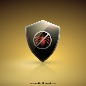 Sfondo dorato antivirus scudo