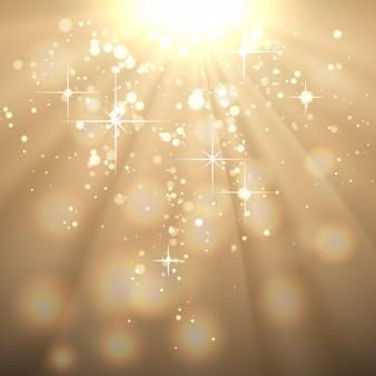 Sfondo dorato astratto con raggi del sole