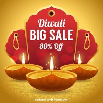 Sfondo dorato delle vendite di diwali