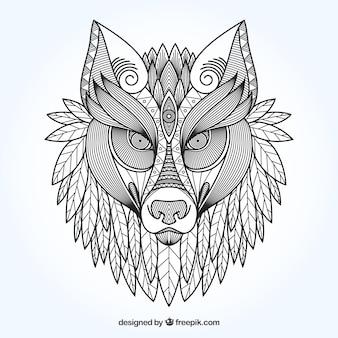 Sfondo etnico lupo ornamentale