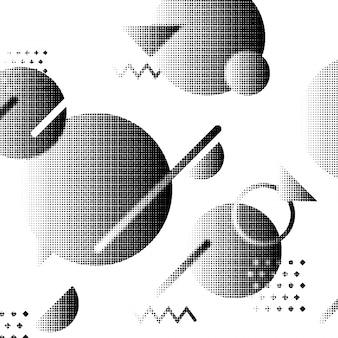 Sfondo geometrico astratto creativo con cerchi, triangoli e linee effetto mezzetinte.