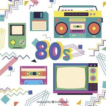 Sfondo geometrico degli anni ottanta oggetti