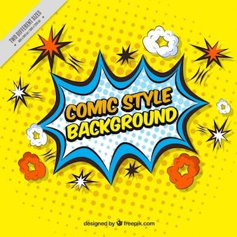Sfondo giallo di effetti comici in stile pop