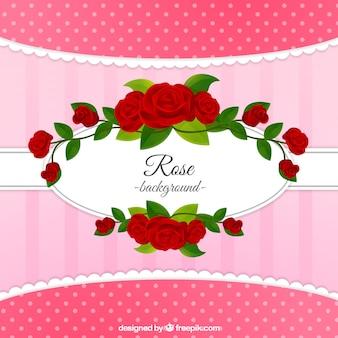Sfondo grazioso con rose rosse decorative