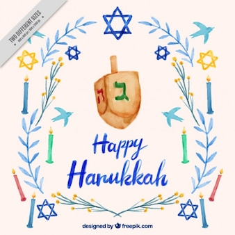 Sfondo Hanukkah con trottola e candele